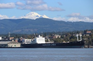 Scenic Mt Baker with tanker and cityscape no boats
